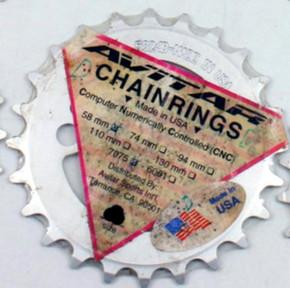 NIB/NOS Avitar Triple Inner Chainring: 23t x 58mm