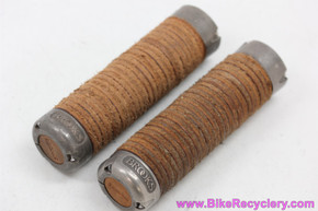 Brooks Plump Leather Ring Grips: Honey Brown - Lock On - End Caps (EXC)