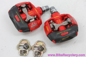 Look S2 Moab Clipless Pedals & Cleats: 1990's MTB - Red (Near Mint)