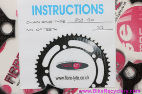 Fibre-Lyte Lightweight 2 Carbon Chainring: 53t x 130mm - 52g (NEW)