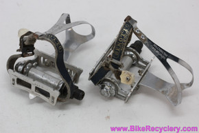 MKS Max-K Track Pedals w/ Benotto Leather Toe Straps & Large Christophe Special Straps - Vintage 1970's