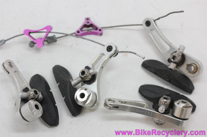 Critical Racing Cantilever Brakeset: *Missing one cap/spring* - Silver w/ 3DV Purple  Tri Dangles