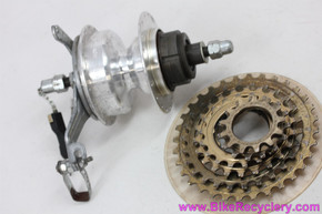 Sachs Orbit HT Rear Hub: 2-speed Internal w/ Gold 5/6 Speed Cassette - Drum Brake - 36H x 126mm