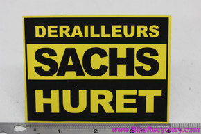 "NOS Sachs Huret Sticker: 4"" x 3"" - Black Yellow - 1980's"