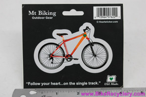 "Orange Mountain Bike Sticker: ~ 2"" x 3"""