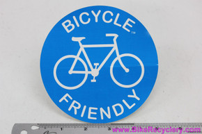 "Bicycle Friendly Sticker: Round - 5"" Across - Blue & White"