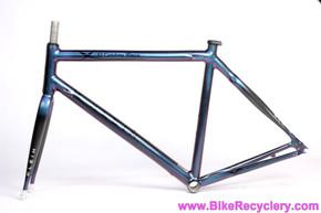 Klein Q Carbon Race Frame & Fork: Purple Haze Chameleon Violet>Turquoise>Pink - 52cm - 2003 - Gradient Tubing (Near Mint+)