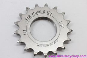 "Phil Wood Track Cog: 17t x 1/8"" - Stainless Steel - Thread On (Mint)"