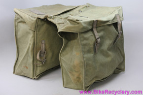 Vintage Canvas & Leather Pannier Set: Military? Olive Green (EXC)
