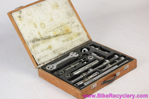 Cobra Brev Italy Master Frame Building Tool Kit in Wooden Case: English - Vintage 1970's - Campagnolo Compatible (EXC+ Complete)