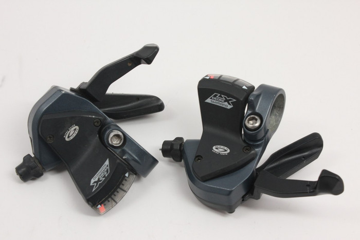 Shimano Deore LX 9 Speed Rapidfire Shifter Pods: Blue, MINT
