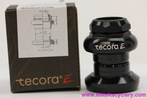 "Tecora E 1"" Threaded Roller Bearing Headset: Black (NEW)"