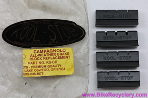 Kool Stop Campagnolo Nuovo/Super Record Replacement Pads: Black - Grooves - KS-CR (Set of 4)