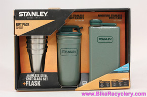 Stanley Adventure Series 8oz Hip Flask, Shaker, & 2oz Stainless Steel Shot Glass 4pc Gift Set: Green (NEW)