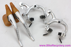 NOS Universal CX Brakeset w/ Milled Levers & Cables: Tan Gum Hoods - Short Reach - 1970's 1980's Italian