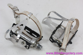 Campagnolo Record SL Pedals: Med Campy SR Toe Clips & Straps - Superleggeri Black Cages (MINT)