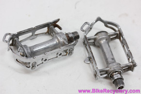 1960's Campagnolo Record Strada Pedals w/ Strap Loop: Steel Dust Caps - #1037