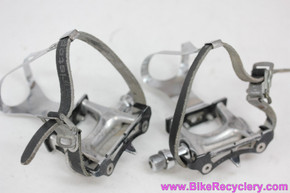 Specialized Track / Road Pedals W/ Toe Clips (med?) & Christophe Straps: (Near mint)
