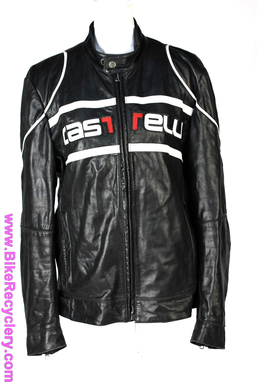 Castelli Leather Moto Jacket: Medium(+) - Black Genuine Italian Leather - Red/White Leather Patchwork (Near Mint+)