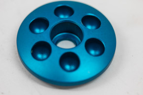 "NOS 1990's Anodized Billet Aluminum 1 1/8"" Stem Top Cap: Cobalt Blue - Drillium (ish)"