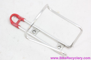 1970's Blackburn Tubular Bottle Cage: Vintage TA REF 215 Style - Alloy - 35g - Silver/Red (EXC)