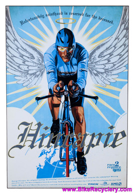 "George Hincapie Race to Replace Discovery Trek Team Artwork One-Off Painted on WOOD: 36"" x 24"" x 10mm Thick (MINT)"