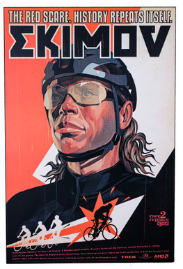 "Viatcheslav Ekimov Race to Replace Discovery Trek Team Artwork One-Off Painted on WOOD: 36"" x 24"" x 10mm Thick (MINT)"