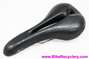 Terry Fly Ti Saddle: Black Textured Leather - Cutout (New take-off)
