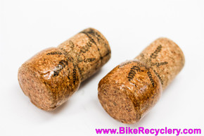 Classy Shellac Wine Bottle Cork Handlebar End Plugs: Shiny & Waterproof! Leafy Fronds (MINT)