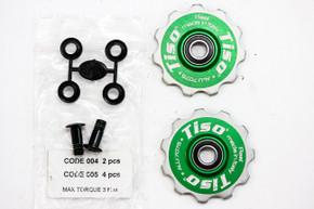 Tiso Ceramic Jockey Pulley Wheels: CNC Alloy - Green - 11t - Shims/Bolts - MSRP $200 (NEW)