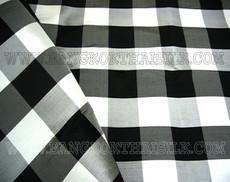 Gingham Black & White Check 100% AUTH Silk Fabric