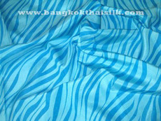 Blue Zebra Print 100% AUTH Silk Fabric