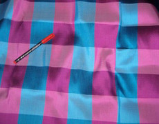 "Pink Blue 3"" Check 100% AUTH Silk Fabric"
