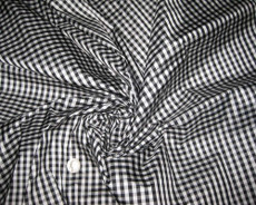 Gingham 3/8'' Black White  Check 100% Auth Silk Fabric