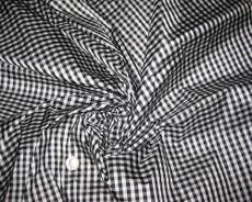 Gingham 3/8'' Black White  Check 100% Auth Silk Fabric