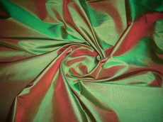 "Emerald Green Shot Red 100% Pure Silk Taffeta Fabric 40""W"
