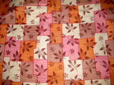 Maple Leaf Cream Orange 100% Silk Dupioni Fabric