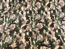 Army Camouflage Prints Cotton Fabric - Green Tan