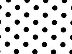 Black Polka Dots print on White Cotton