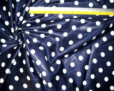 "Polished Cotton Polka Dot Fabric 44""W - White on Dark Blue"