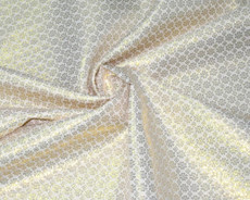 Floral Bling Bling Metallic Brocade Fabric - Ivory & Gold