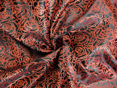 Black Red Silk Shantung Roses Brocade
