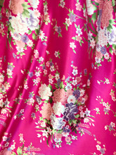 "Bouquet Flower Faux Silk Satin Fabric 48""W - Hot Pink"