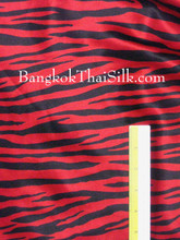 "Zebra Red & Black Animal Print Satin Fabric 48""W"
