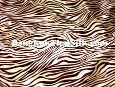 "Zebra Gold & Brown Animal Print Satin Fabric 48""W"