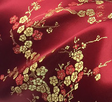 Burgundy & Gold Silk Shantung Cherry Blossom Brocade