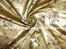 Gold & Plum Silk Shantung Cherry Blossom Brocade
