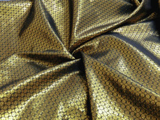 Floral Bling Bling Metallic Brocade Fabric - Gold & Black