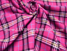 "Plaid Tartan Woven Cotton Fabric 44""W - Hot Pink"