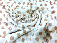 "CREAM IVORY CHIFFON BROWN POLKA DOT 60""W FABRIC"